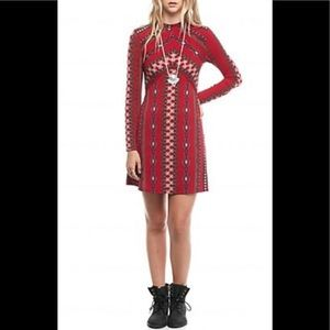 Free People Retro Bohemian Mini Dress size M